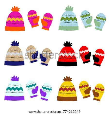 7a8e0a699cc Winter Hat Mittens Graphic Vector Art Stock Vector (Royalty Free ...