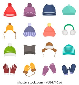Winter hats and gloves color icons set for web and mobile design