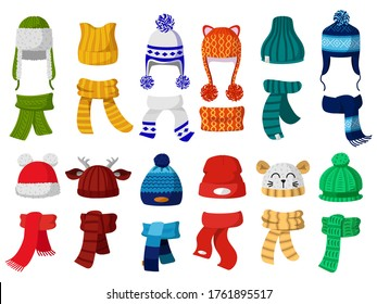 Winter hats. Kids knitting autumn headwear, hats and scarf, cold weather children accessories isolated vector illustration icons set. Child knitted scarf, accessory headwear, autumn childish garment