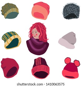 Winter headwear collection. Girl with scarf and selection of hats. Vector illustration of knitted hats, beanies isolated on white background. Poster design element.