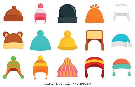 Winter headwear icon set. Flat set of winter headwear vector icons for web design