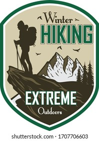 Winter Hiking, Extreme Outdoors,Logo Vector Hiker or Climber illustration