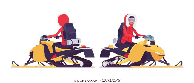 Winter hiking man riding a snowmobile. Male tourist with backpacking gear, wearing bright jacket, hood, professional footwear. Vector flat style cartoon illustration isolated on white background