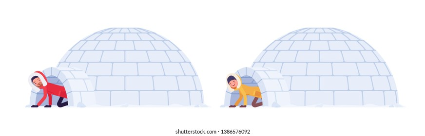Winter hiking man and woman in ice igloo. Male and female tourist in dome shaped shelter built from blocks of solid snow. Vector flat style cartoon illustration isolated on white background