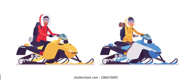 Winter hiking man, woman riding snowmobile. Male, female tourist with backpacking gear, wearing bright jacket, professional footwear. Vector flat style cartoon illustration isolated, white background