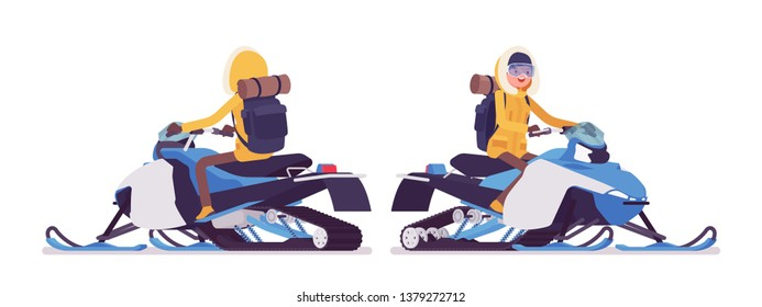 Winter hiking woman riding a snowmobile. Female tourist with backpacking gear, wearing bright jacket, hood, professional footwear. Vector flat style cartoon illustration isolated on white background