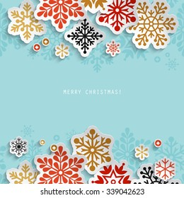 Winter holiday abstract background with paper snowflakes