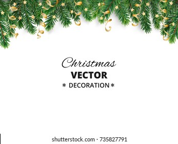 Winter holiday background. Border with Christmas tree branches and ornaments isolated on white. Fir needles garland, frame with streamers. Great for New year cards, banners, headers, party posters.