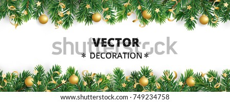 Border With Christmas Tree Branches Isolated On White Garland Frame