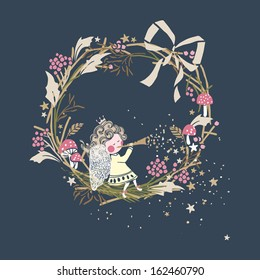 winter holiday card with little angel playing trumpet and wreath