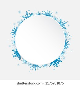 Winter holiday circle frame style with fall shining snow. Falling blue snow with winter sky. Merry Christmas, New Year background, banner, poster, card. Vector frames snowflakes illustration.