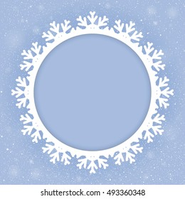 Winter holiday circle frame style with fall shining snow. Falling white snow with blue winter sky. Merry Christmas, New Year background, banner, poster, card. Vector frames snowflakes illustration.