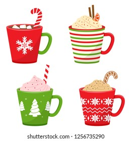 Winter holiday cups with drinks. Mugs with hot chocolate, cocoa or coffee, and cream. Vector illustration