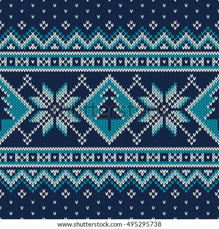 a8544c83ee4a92 Winter Holiday Fair Isle Knitted Pattern with Snowflakes and Christmas  Tree. Vector Seamless Knitting Wool