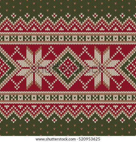 Winter Holiday Fair Isle Knitted Pattern Stock Vector Royalty Free