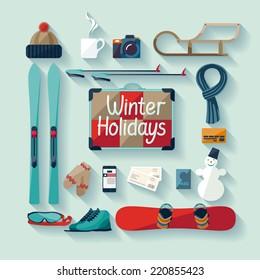 Winter holiday. Flat design