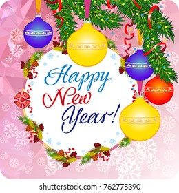 winter holiday greeting card with christmas baubles and artistic written text happy new year