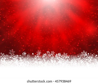 Winter holiday greeting card. Vector red background with white snow at the bottom and light of shinning stat at the top