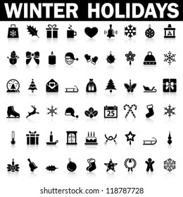 Winter Holiday Icons,  Vector
