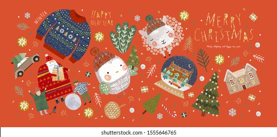 Winter holiday isolated objects for christmas and new year. Vector illustration santa claus and family, christmas tree, house, cute animal sheep and bird, sweater, tree, car.
