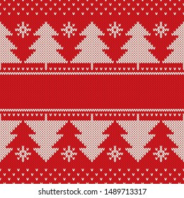 Winter Holiday Knitted Pattern. Christmas Trees Ornament with a Place for Text. Vector Seamless Wool Knit Texture Imitation
