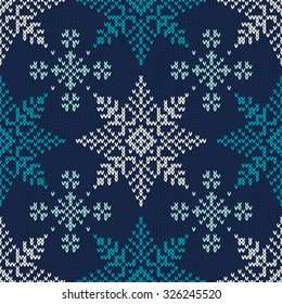 Winter Holiday Knitted Pattern with Snowflakes. Seamless Vector Background