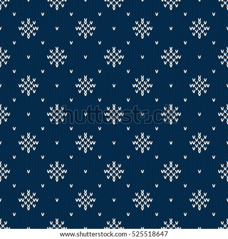 Winter Holiday Knitted Pattern Snowflakes Fair Stock Vector Royalty