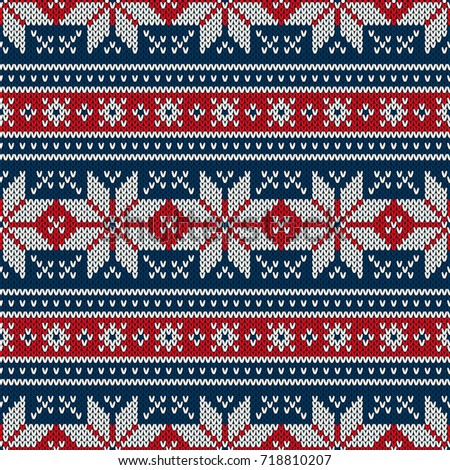 fe65fe380e0c9c Winter Holiday Knitted Pattern with Snowflakes. Fair Isle Knitting Sweater  Design. Seamless Christmas and New Year Background - Vector