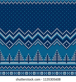 Winter Holiday Knitted Sweater Pattern with Christmas Trees. Wool Knit Seamless Melange Texture Imitation with Shades of Blue Colors