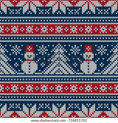 Winter Holiday Knitting Pattern Snowman Christmas Stock Vector