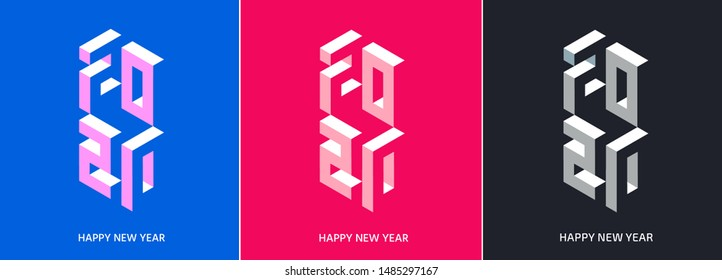Winter holiday lettering typography logo set for New Year 2020 celebration. Decoration elements for design, postcard, greeting cards, invitations, flyer, sticker, stripe.