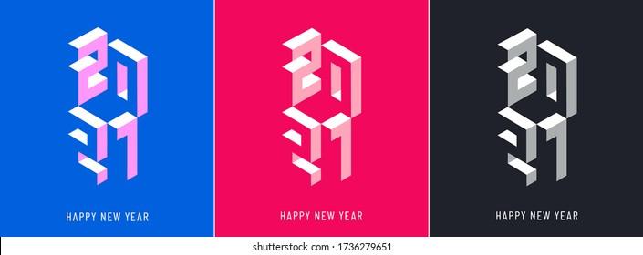 Winter holiday logo set for New Year 2021 celebration.  Modern bright Christmas design for banner, poster, calendar, postcard, greeting cards, invitations, flyer, sticker, stripe, web.