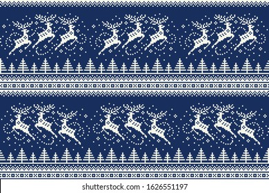 Winter Holiday Pixel Pattern with Reindeers Flying over the Winter Forest. Traditional Nordic Seamless Striped Ornament. Scheme for Knitted Sweater Pattern Design or Cross Stitch Embroidery