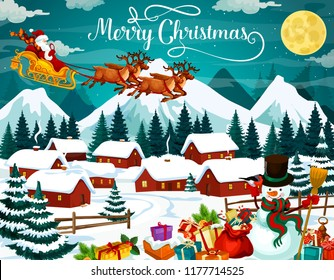 Winter holiday poster for Christmas. Santa Claus in harness with deers flying over village. Houses in forest under snow and gifts or presents, snowman and bullfinch, full moon above mountains vector