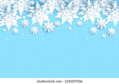 Winter holiday realistic paper cut snowflakes. Snow christmas decoration for design banner, ticket, invitation, greetings, leaflet and so on.