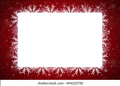 Winter holiday rectangle frame style with fall shining snow. Falling white snow with red winter sky. Merry Christmas, New Year background, banner, poster. Vector frames snowflakes illustration.