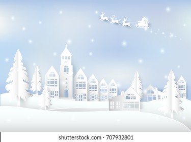 Winter holiday Santa and snow in city town background. Christmas season paper art style illustration.