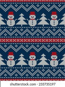 Winter Holiday Seamless Knitted Pattern with Snowman and Christmas Tree. Festive Sweater Design