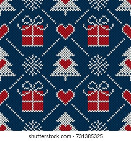 Winter Holiday Seamless Knitted Pattern with a Christmas Symbols: Present Box, Snowflake and Christmas Tree. Wool Knitting Sweater Design