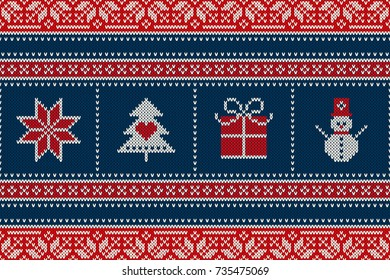 Winter Holiday Seamless Knitted Pattern with a Snowman, Snowflake, Present Box and Christmas Tree. Wool Knitting Sweater Design