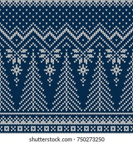 Winter Holiday Seamless Knitted Pattern with a Christmas Trees. Knitting Sweater Design
