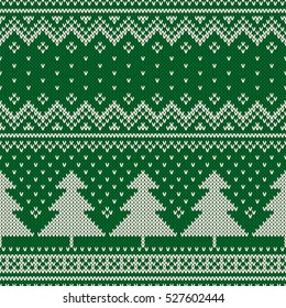 Winter Holiday Seamless Knitting Pattern with a Christmas Trees. Knitting Sweater Design. Wool Knitted Texture