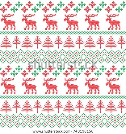 Winter Holiday Seamless Knitting Pattern Christmas Stock Vector Mesmerizing Christmas Knitting Patterns