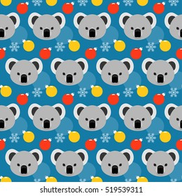 Winter holiday seamless pattern background. Koala, snow and glass ball.  Handmade illustration for design winter holiday card, new year invitation, christmas poster, album etc.