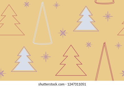 Winter holiday seamless pattern. Minimal Christmas pine tree with bright yellow colors.