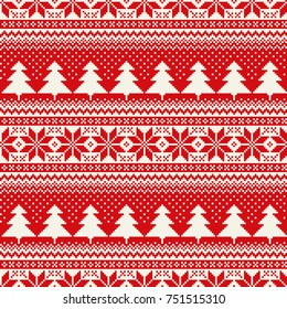 Winter Holiday Seamless Pixel Pattern with Christmas Tree and Snowflakes. Scheme for Cross Stitch Embroidery and Knitted Sweater Pattern Design