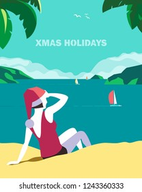 Winter holiday seaside vacation concept. Retro poster in hand drawn pop art style. Christmas season fun rest. Girl in Santa hat on seaside sand beach. Vintage vector new year tourist trip background