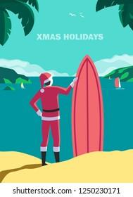 Winter holiday seaside vacation concept. Hand drawn retro pop art style. Christmas season sea fun rest. Quirky surfer Santa Claus enjoy surfing on ocean coast. Vintage vector new year trip background