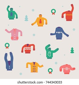 Winter holiday season background pattern made of cozy funny ridiculous sweaters, cardigans, pullovers and jumpers