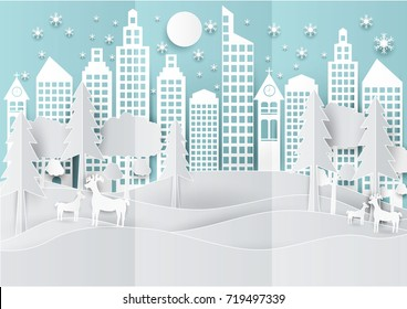 Winter holiday snow in city town background with deer and tree. Christmas season paper art style illustration